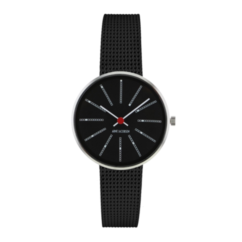 Image of Arne Jacobsen Bankers Watch armbåndsur, Sort skive ø 30 mm med sort mesh lænke