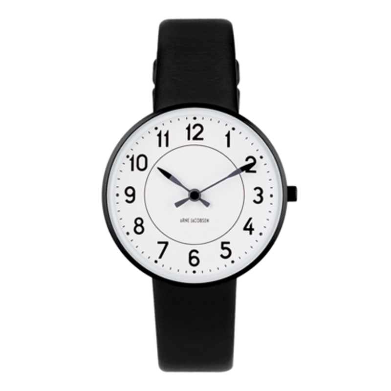 Image of   Arne Jacobsen Station Watch armbåndsur, ø34mm sort krans med sort rem