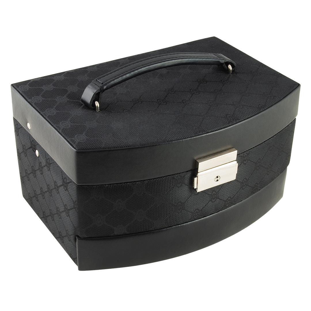 Image of   Smykkeskrin, sort mønster med udtræk og rejse etui