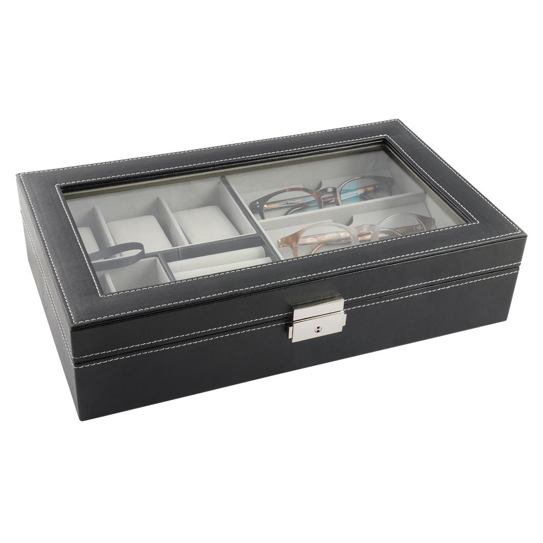 Image of   Smykkeskrin til smykker, ure og briller, sort kunstlæder