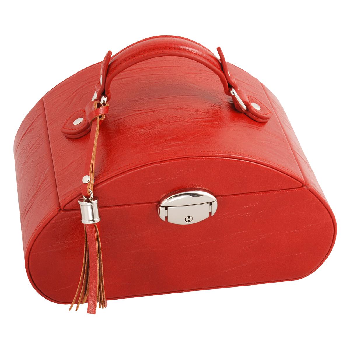 Image of   Smykkeskrin i rødt kunstlæder med nøglelås