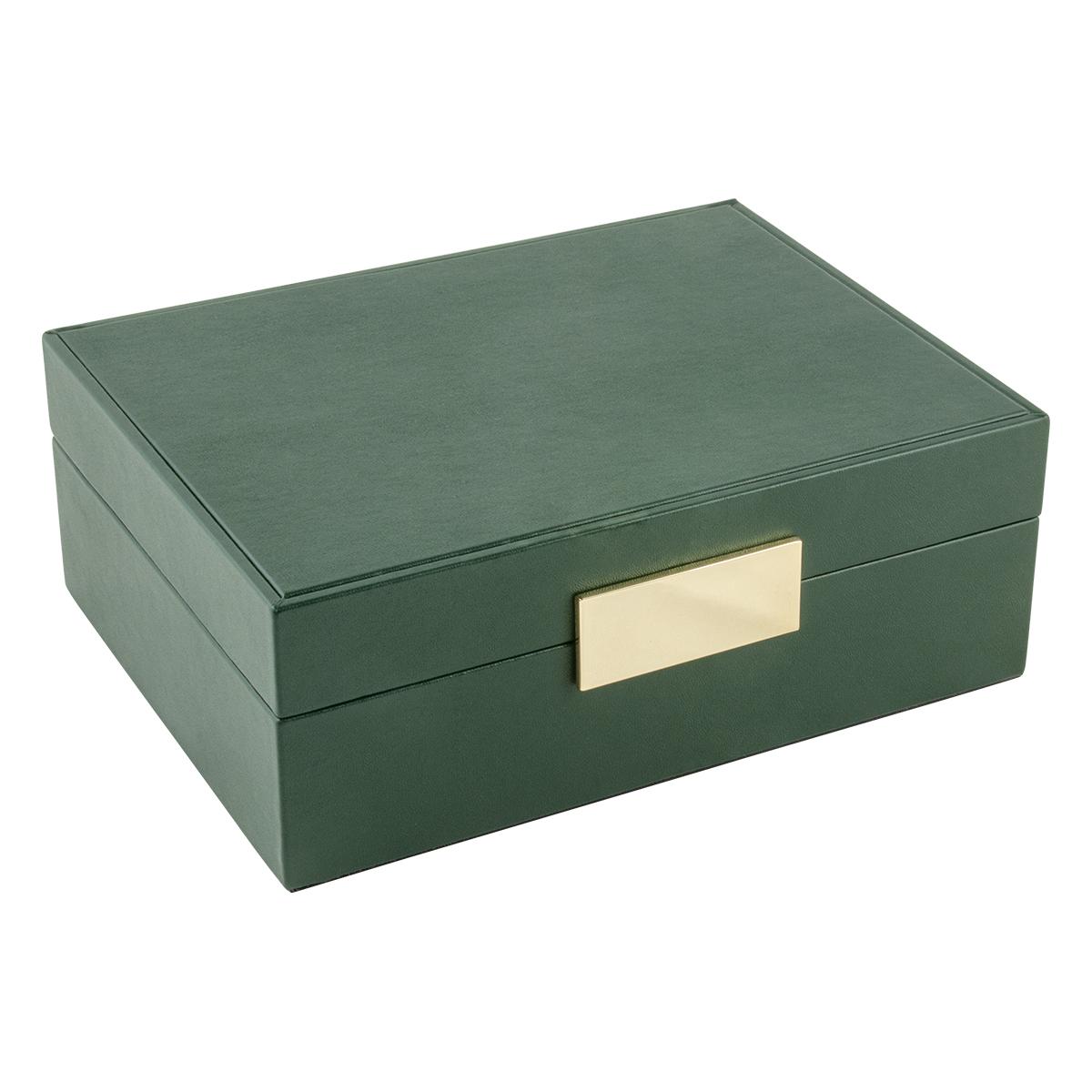 Image of   Smykkeskrin i grøn kunstlæder og guld magnetlås