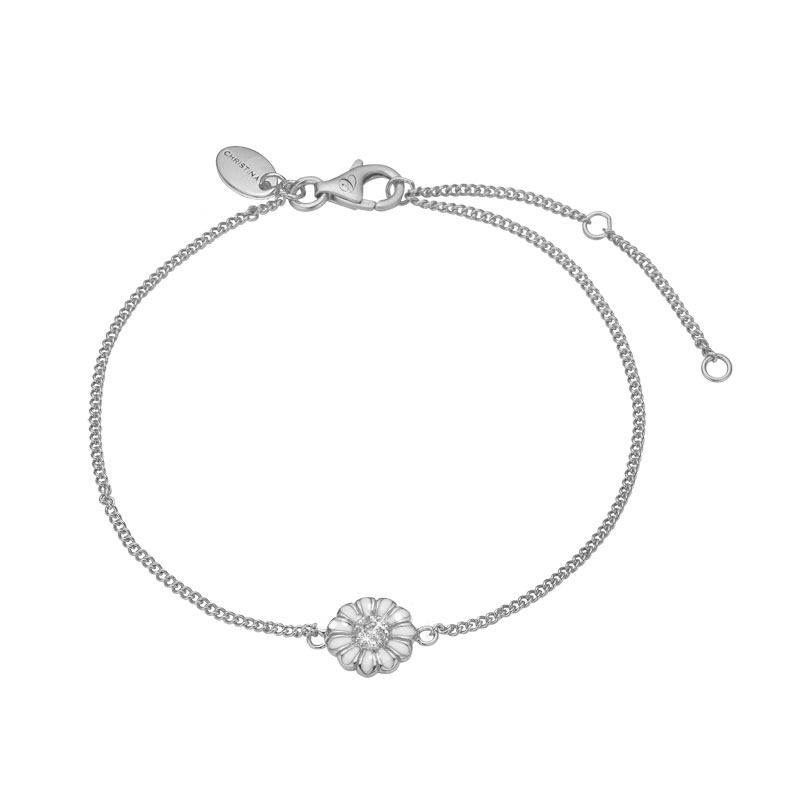 Image of   Christina Jewelry Single Margurite armbånd i sølv med topas