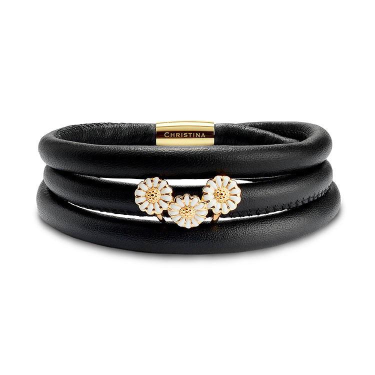 Image of   Christina Jewelry kampagne læderarmbånd med 3 forgyldt/hvid margueritter