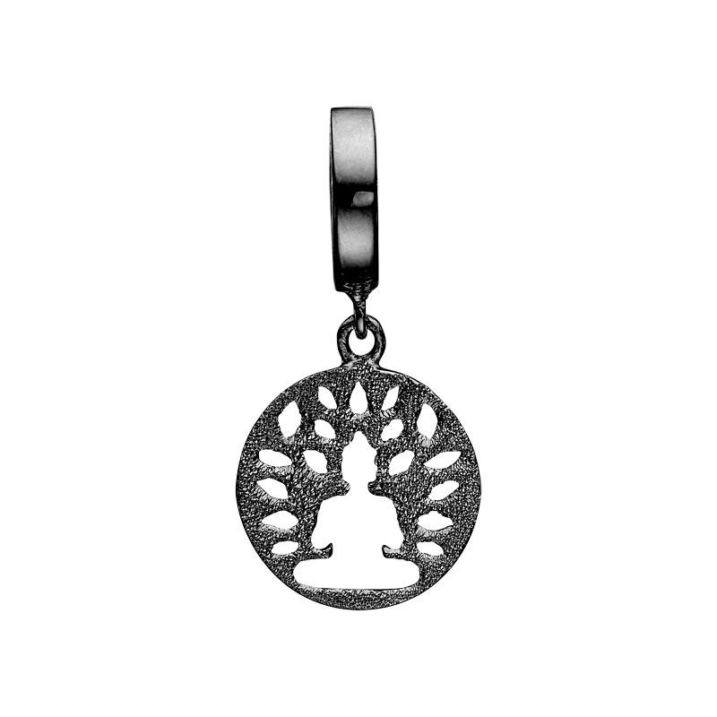Image of   Christina Charm til læderarmbånd Meditation i sort sølv