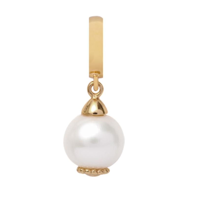 Image of   Christina Charm til læderarmbånd Pearl Dream i forgyldt med hvide perle
