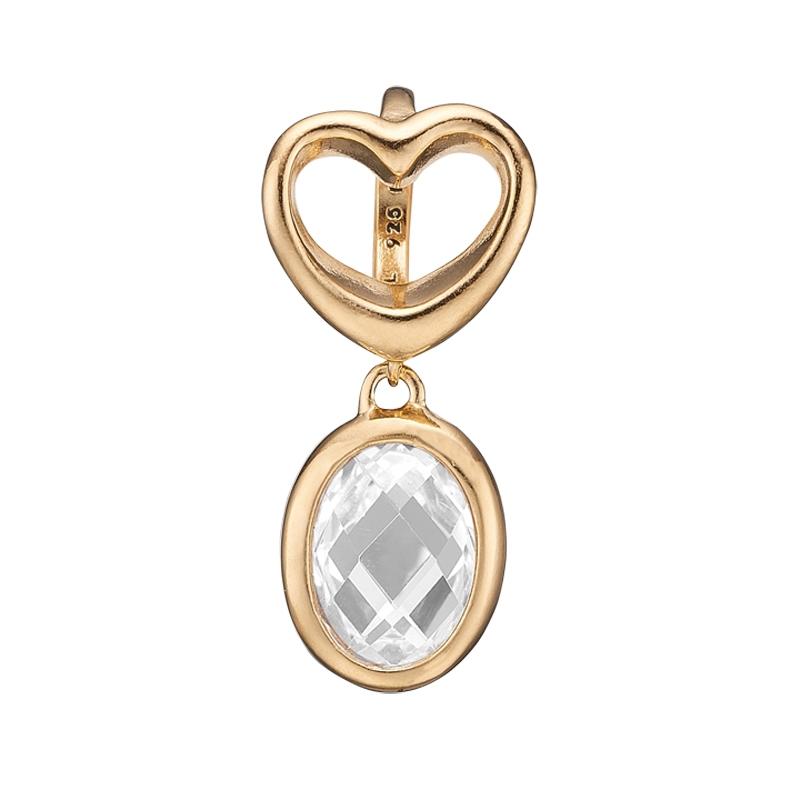Christina Charm til læderarmbånd Open Heart Crystal i forgyldt