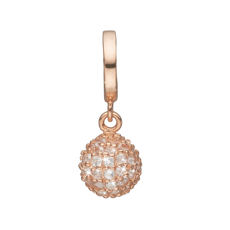 Image of   Christina Charm til læderarmbånd Sparkling World charm i rosaforgyldt