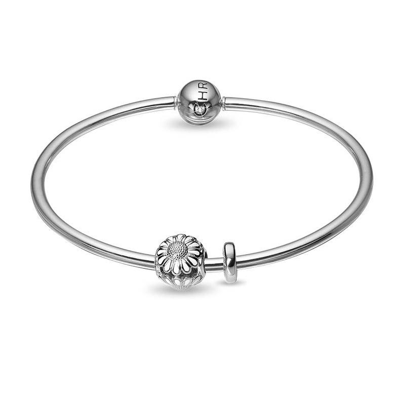 Christina kampagne armring i sølv med sølv/hvid marguerit