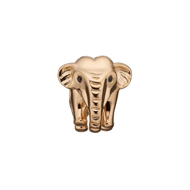 Christina charm til sølv armbånd Petite Elephant i forgyldt