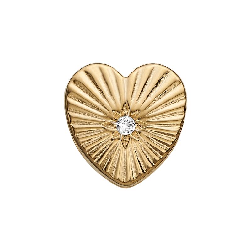 Christina Charm til sølv armbånd Sunshine Heart i forgyldt med topas