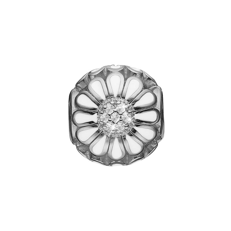 Christina charm til sølv armbånd Petite topaz marguerite i sølv