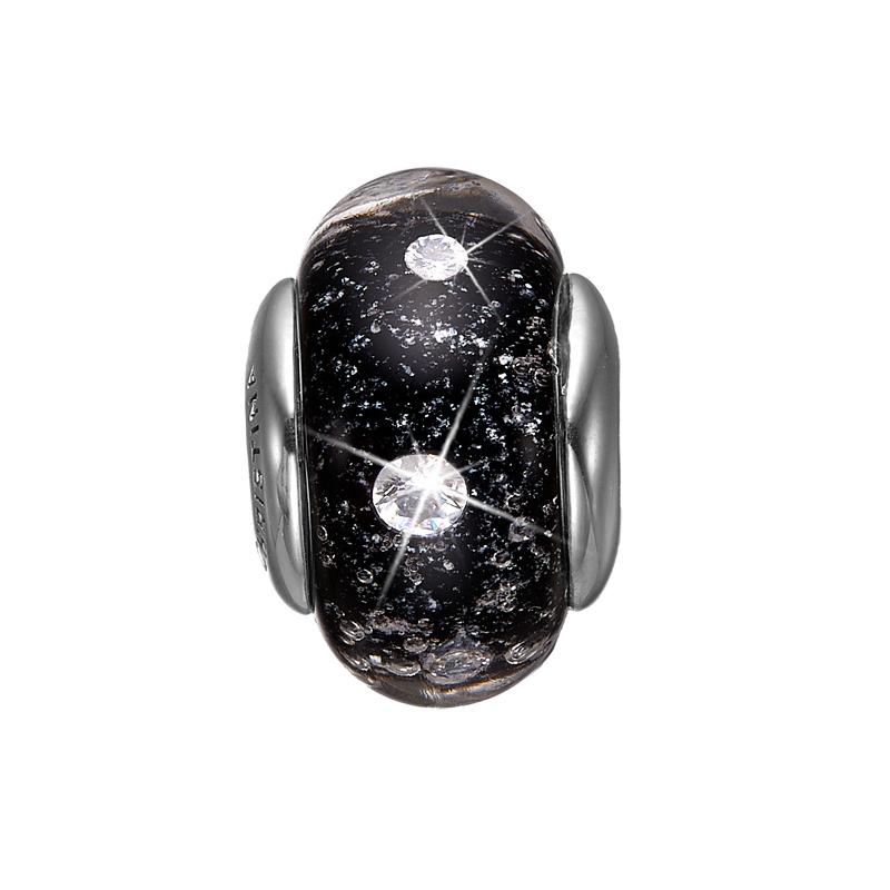 Christina charm til sølv armbånd Black Topaz Globe i sølv