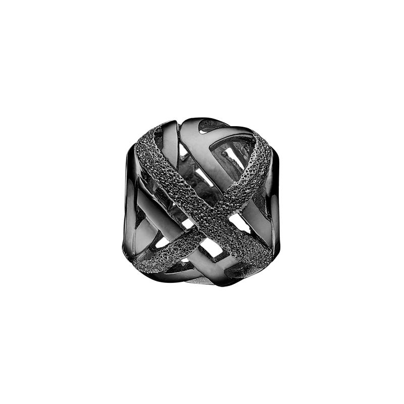 Image of   Christina Charm til læderarmbånd Vision i sort sølv