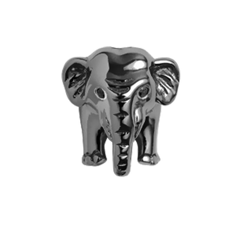 Image of   Christina Charm til læderarmbånd Elephant i sort sølv