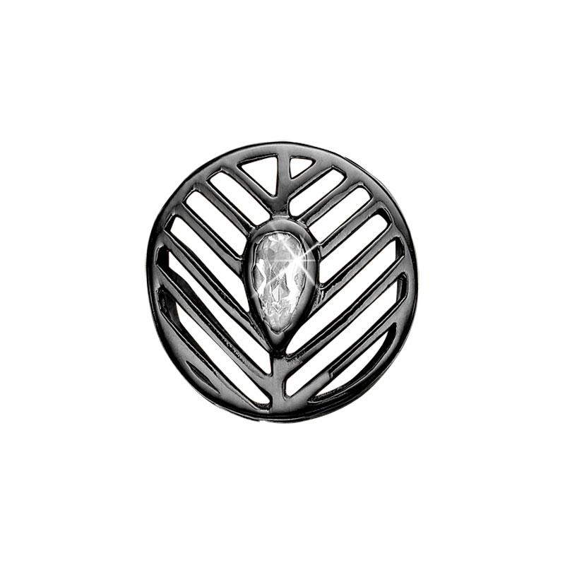 Image of   Christina Charm til læderarmbånd Open Leaf i sort sølv med 1 topas