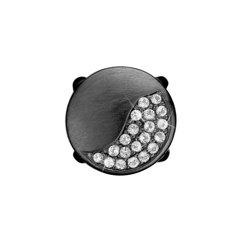 Image of   Christina Charm til læderarmbånd Moonlight i sort sølv med 20 topaser