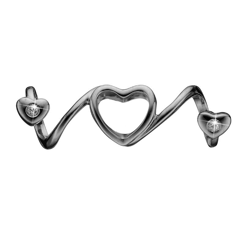 Image of   Christina Charm til læderarmbånd Soulmate i sort sølv