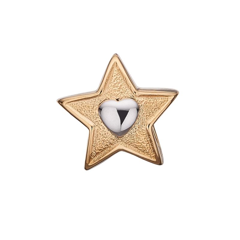 Christina Charm til læderarmbånd Dreamning Heart i forgyldt med lille sølv hjerte