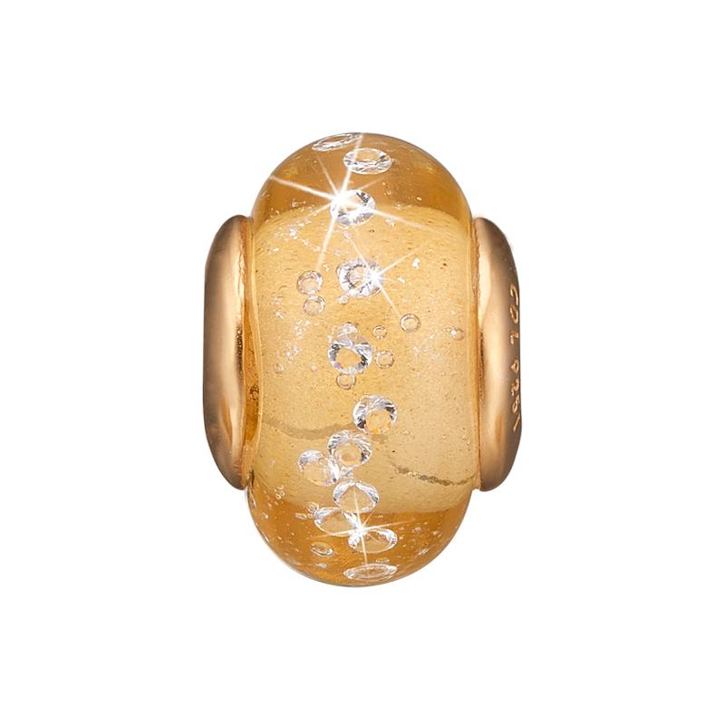 Image of   Christina charm til læderarmbånd Golden Topaz Globe i forgyldt