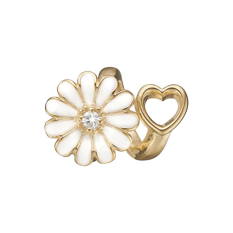 Image of   Christina Charm til læderarmbånd Marguerite heart i forgyldt med 1 labgrown diamant