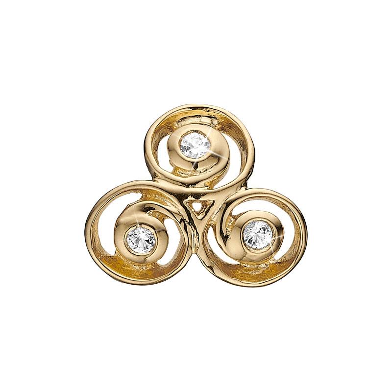 Image of   Christina Charm til læderarmbånd Triple Spiral i forgyldt med 3 topaser