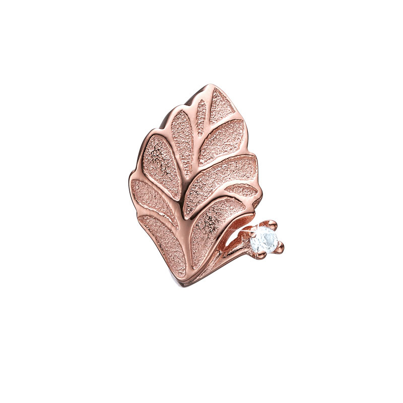 Image of   Christina Charm til læderarmbånd Topaz Leaf i rosaforgyldt med 1 topas