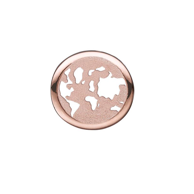 Image of   Christina Charm til læderarmbånd World Explorer i rosaforgyldt