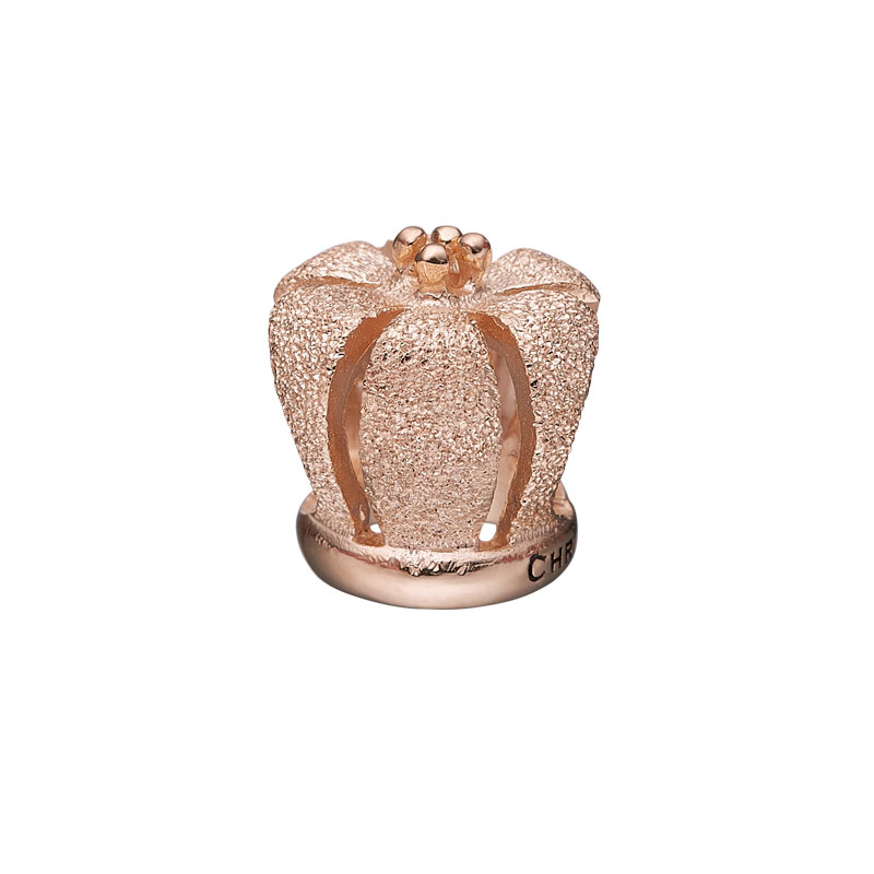 Image of   Christina Charm til læderarmbånd Crown i rosaforgyldt