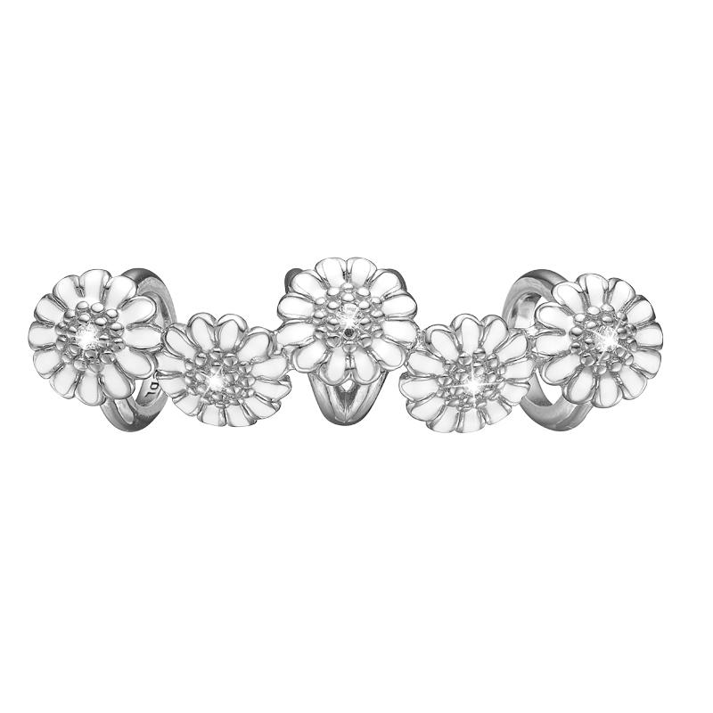 Christina Charm til læderarmbånd White Marguerit i sølv