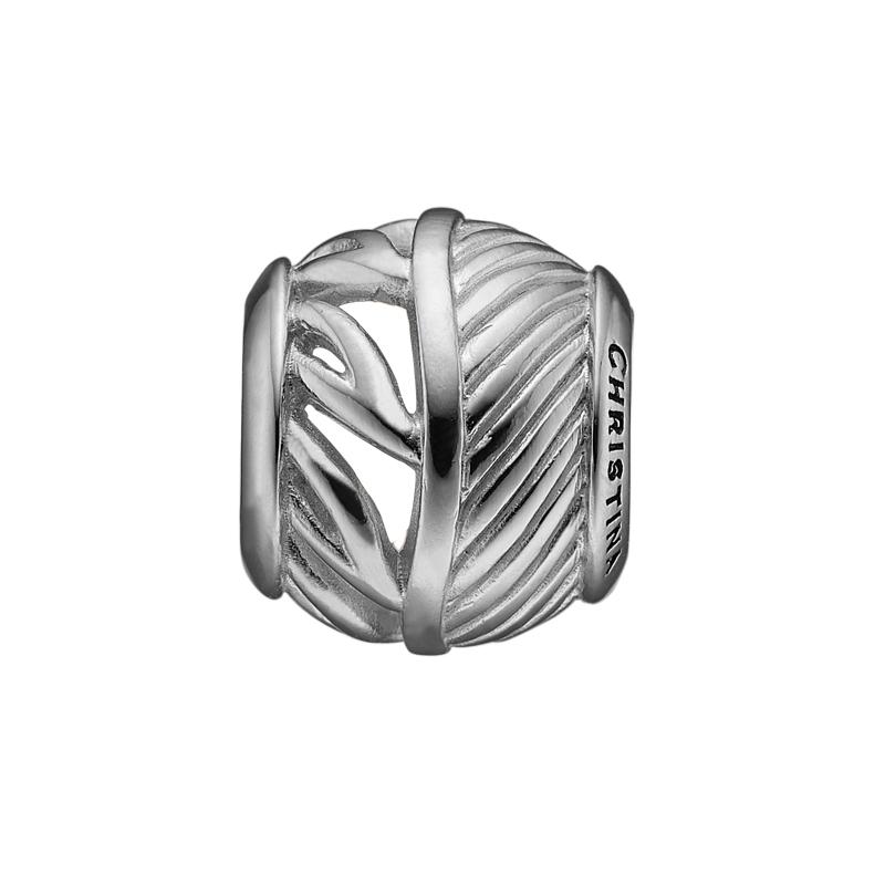 Image of   Christina Charm til læderarmbånd Healing Leaves i sølv
