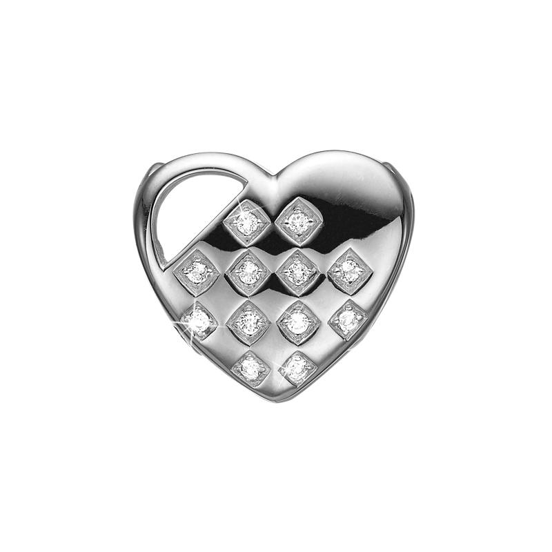 Image of   Christina Charm til læderarmbånd Braided Heart i sølv