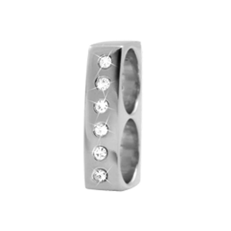 Image of   Christina Charm til læderarmbånd Double Charm i sølv med safirer