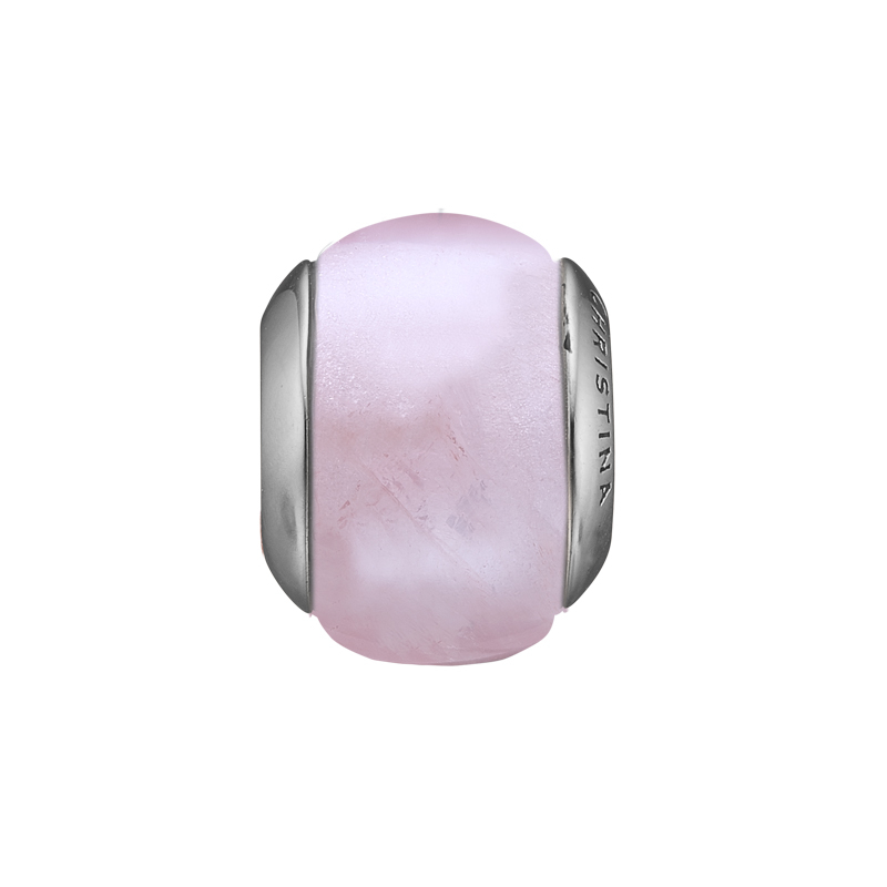 Image of   Christina charm til læderarmbånd Rose Quartz Magic i sølv