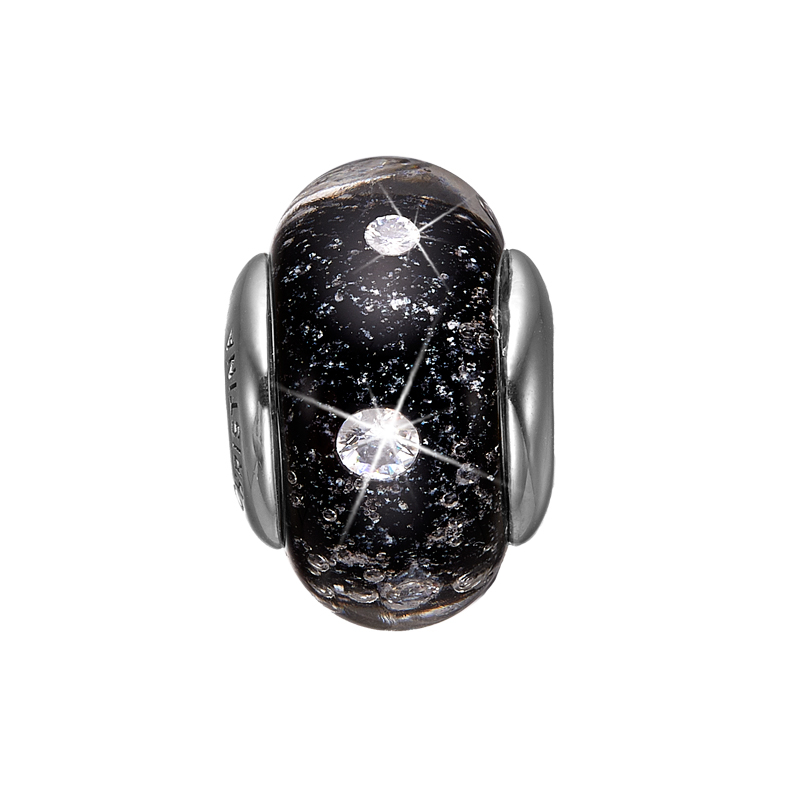 Image of   Christina charm til læderarmbånd Black Topaz Globe i sølv