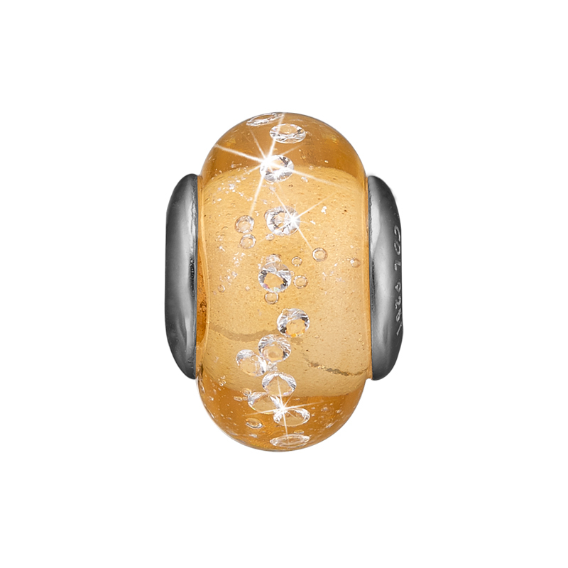 Image of   Christina charm til læderarmbånd Golden Topaz Globe i sølv