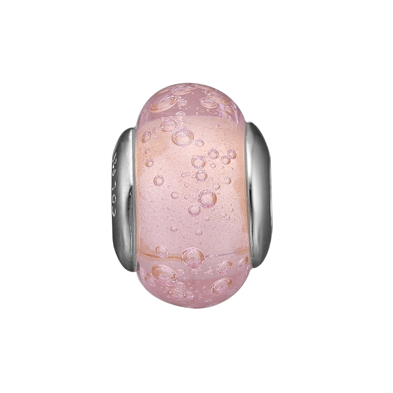 Image of   Christina charm til læderarmbånd Bubbly Pink Globe i sølv