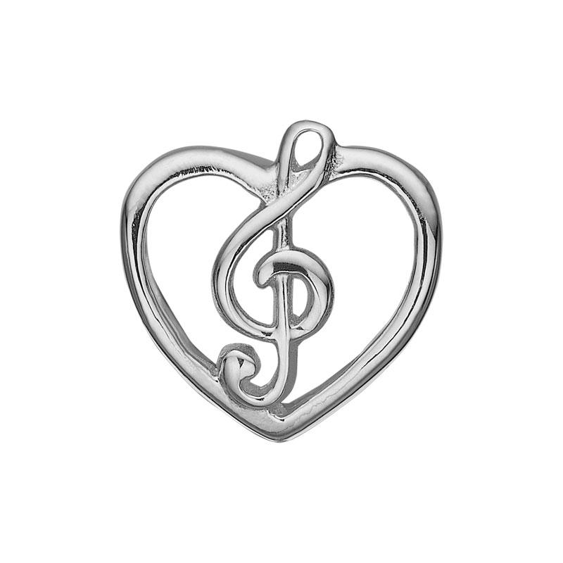 Image of   Christina Charm til læderarmbånd Music Love i sølv