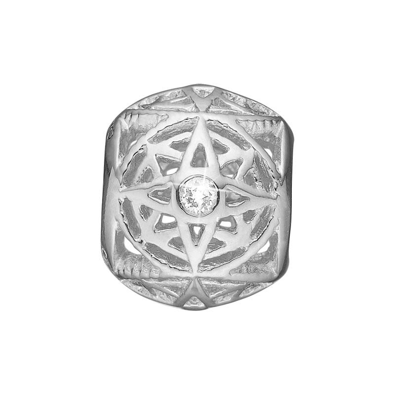 Image of   Christina Charm til læderarmbånd Compass i sølv med 2 topaser