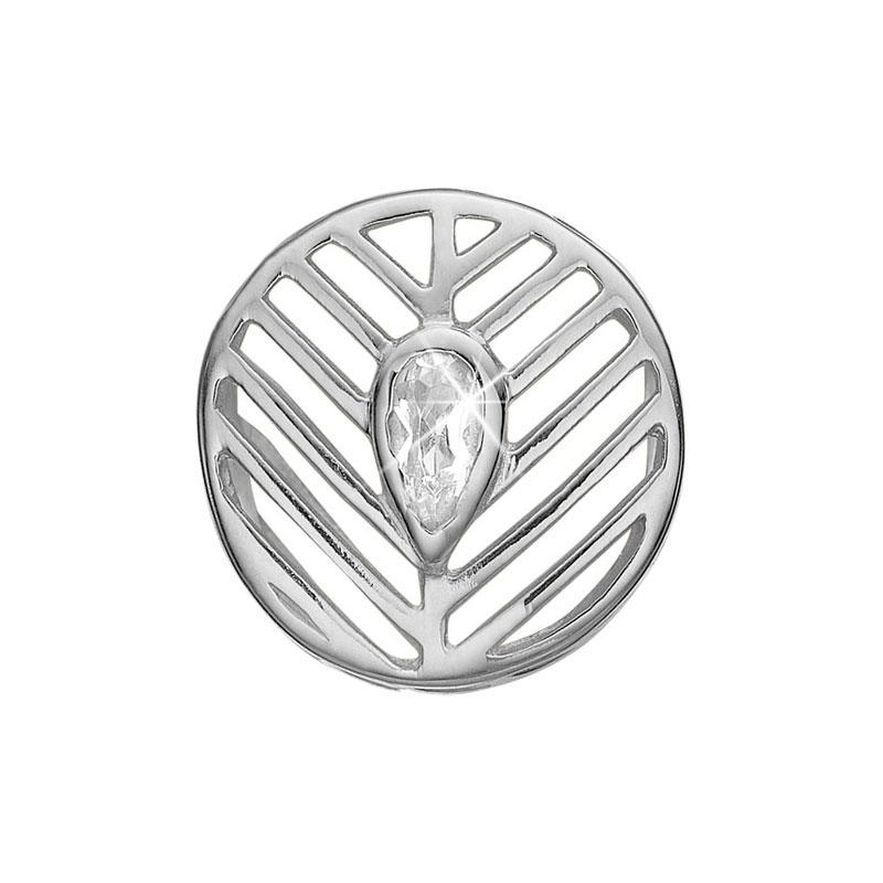 Image of   Christina Charm til læderarmbånd Open Leaf i sølv med 1 topas
