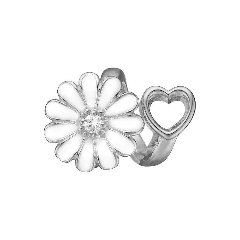 Image of   Christina Charm til læderarmbånd Marguerite heart i sølv med 1 labgrown diamant