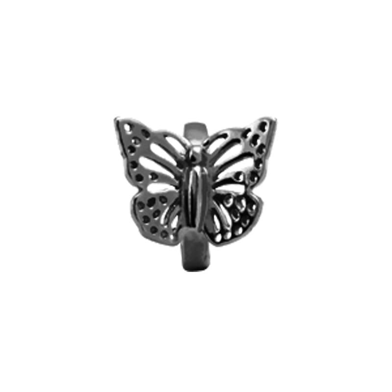 Image of   Christina Charm til læderarmbånd Butterflyi sort sølv