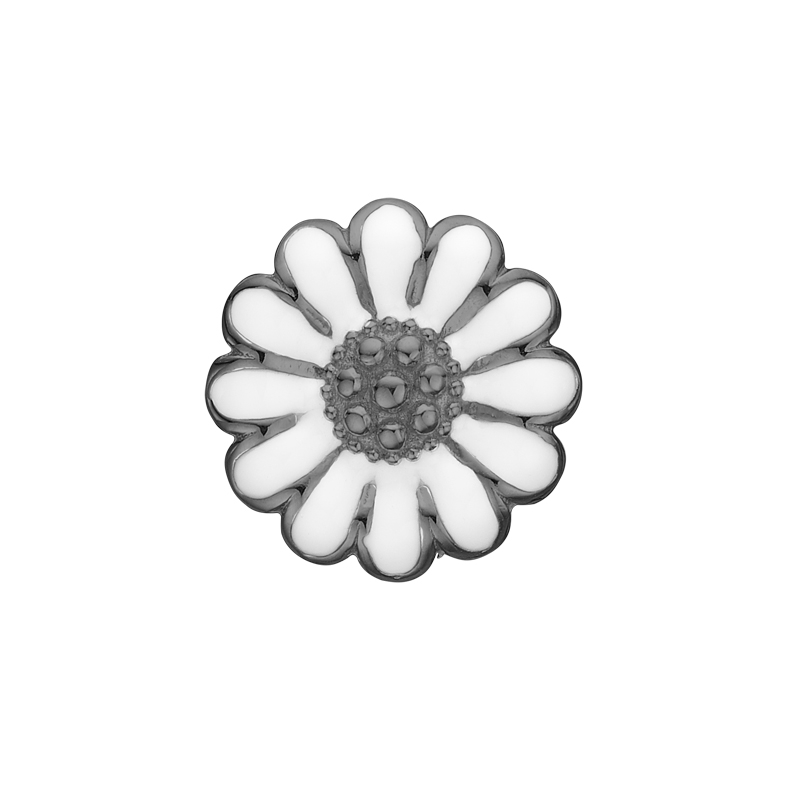 Christina Charm til læderarmbånd Marguerite i sort sølv