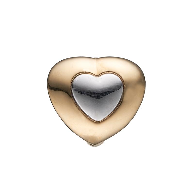 Image of   Christina Charm til læderarmbånd Be Mine i forgyldt med lille sølv hjerte