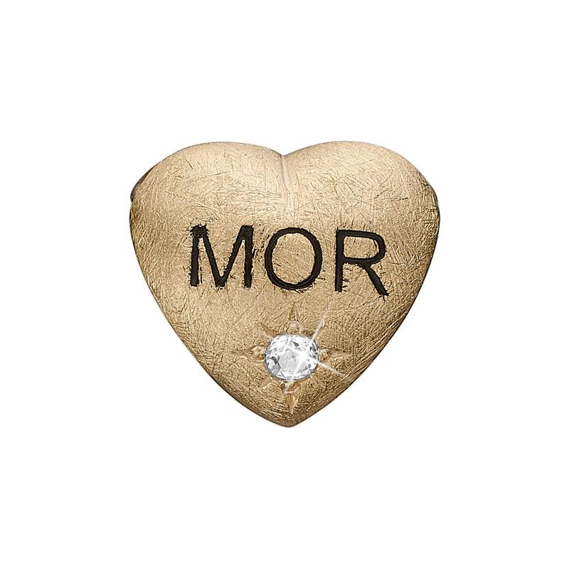 Image of   Christina Charm til læderarmbånd MOR i forgyldt med labgrown diamant