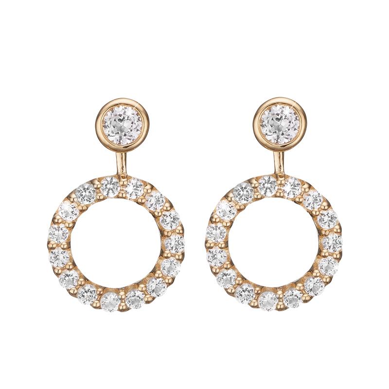 Billede af Christina Jewelry Flying Topaz Circle ørestikker i forgyldt med topas