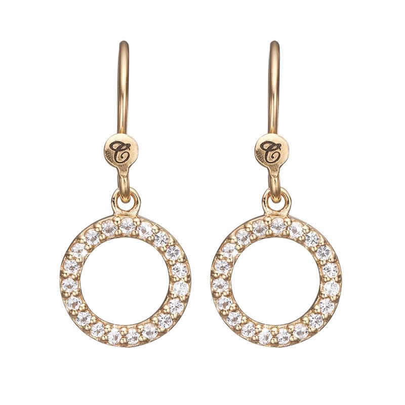 Image of   Christina Jewelry Hanging Topaz Circle ørehænger i forgyldt med topas