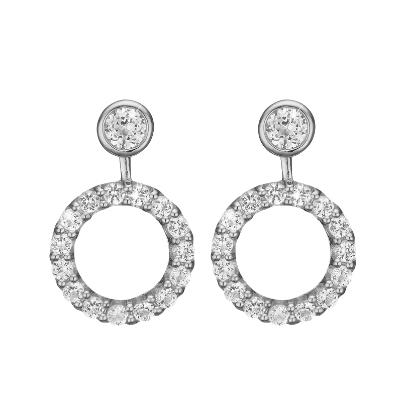 Image of   Christina Jewelry Flying Topaz Circle ørestikker i sølv med topas