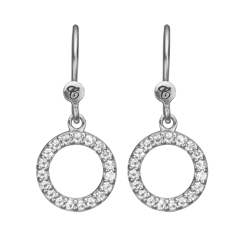 Image of   Christina Jewelry Hanging Topaz Circle ørehænger i sølv med topas