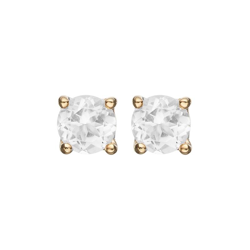 Image of   Christina Jewelry round topaz ørestikker i forgyldt